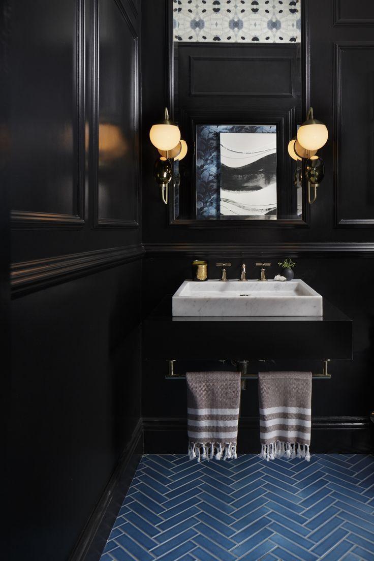 Schwarz Badezimmer Farbe Chic Raum Mit Waschtisch Armaturen ...