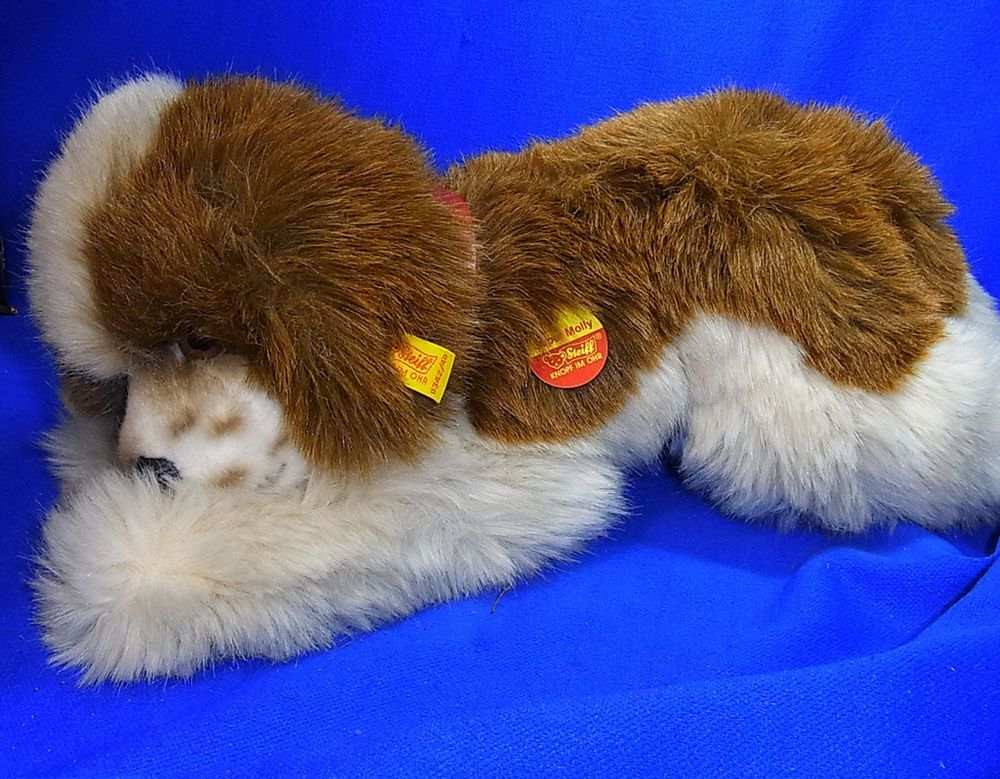 Original Modern Stuffed Animal Steiff Toy Dog Super Molly with Button #^C58