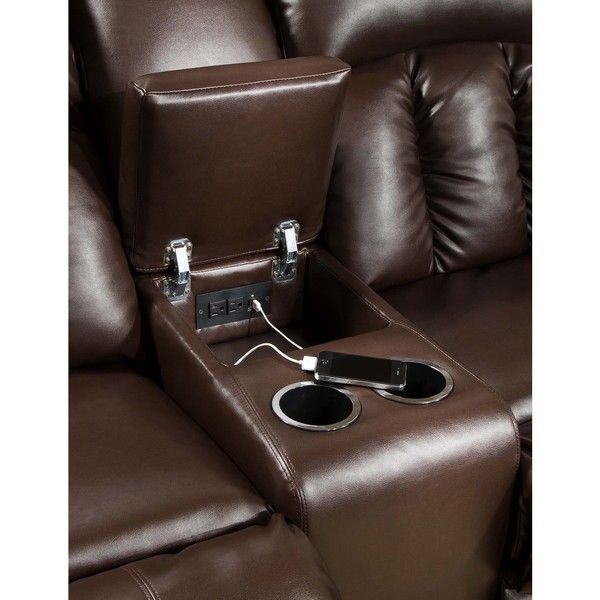 Simmons Upholstery Sebring Coffeebean Motion Sectional With Storage Console And Usb Outlets