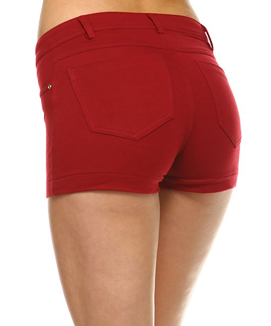 Wine Denim Shorts