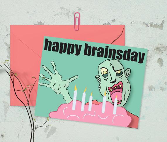 Zombie Birthday Card Zombie Apocalypse Greeting Card Etsy Zombie Birthday Birthday Cards Witty Birthday Cards