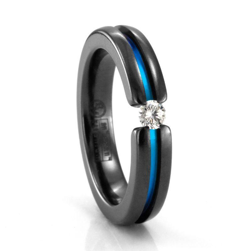 Black Titanium & White Sapphire Ranbow Ring by Edward Mirell
