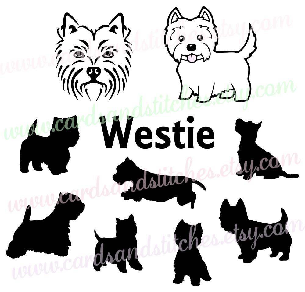 westie svg - westie silhouette svg - west highland terrier - digital cutting file