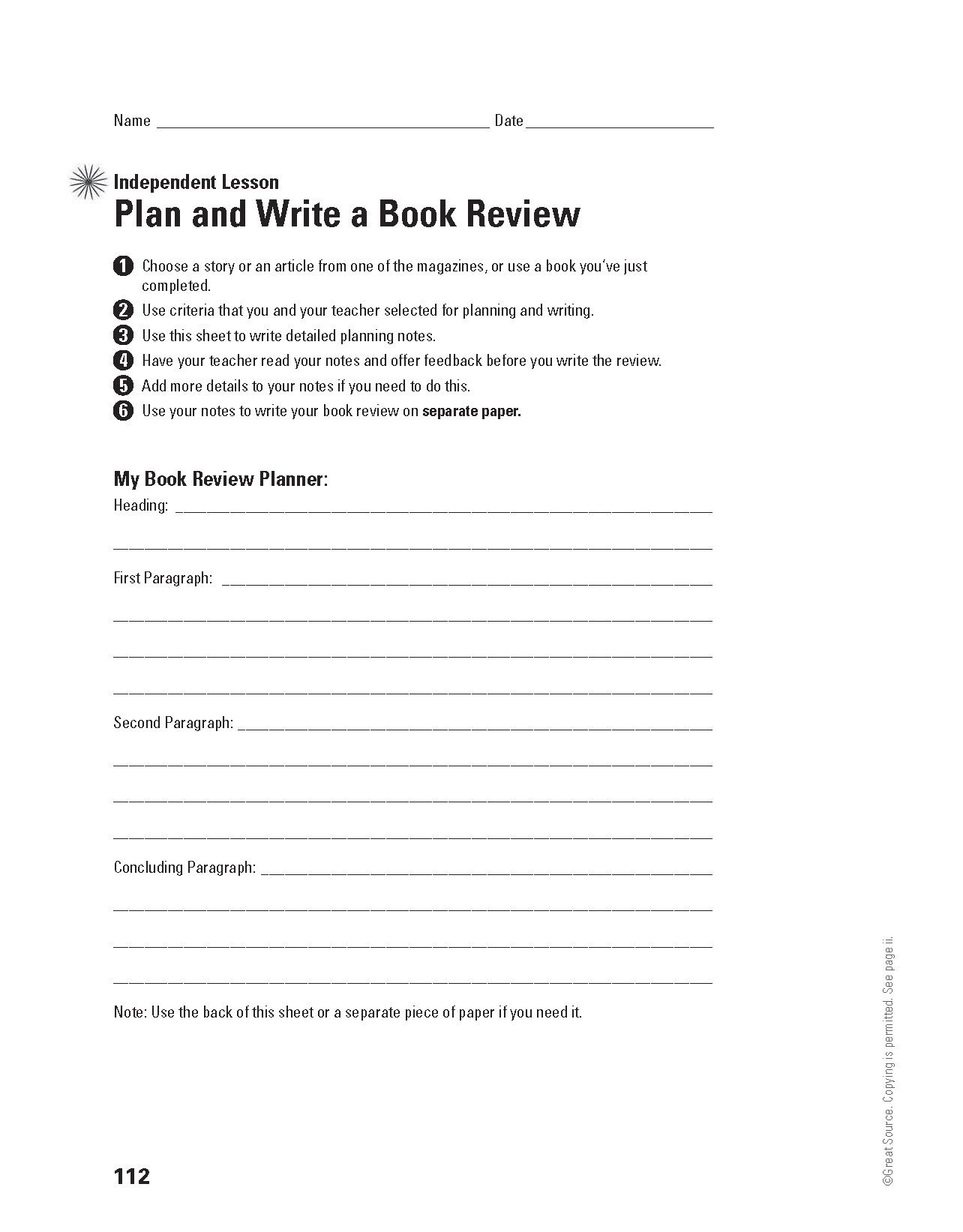 Plan And Write A Book Review Grades 6 8 Download And Print This Independent Lesson For Plannin Summer School Curriculum Summer School Writing A Book Review