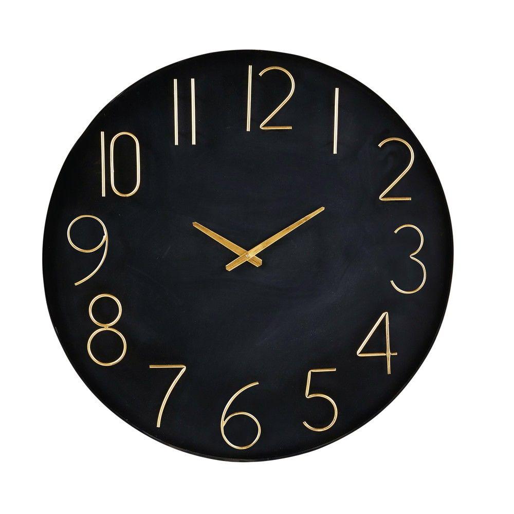 Wanduhr Aus Metall Schwarz Und Goldfarben Maisons Du Monde Wanduhren Wanduhr Uhr