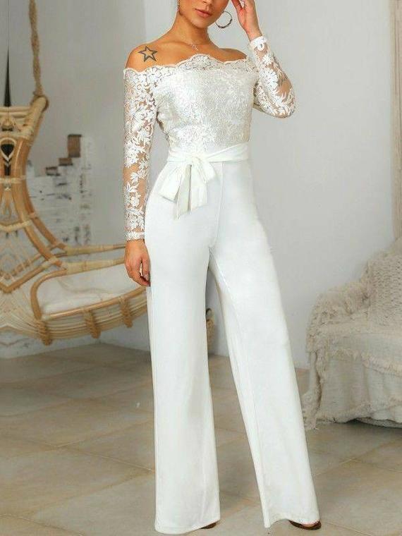 White women's wedding reception jumpsuit,womens pa