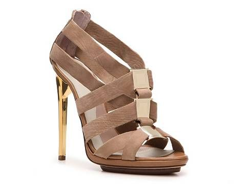 Herve Leger Clara Nubuck Leather Cutout Sandal Women's Luxury Shoes Womens by Category Luxe810 - DSW