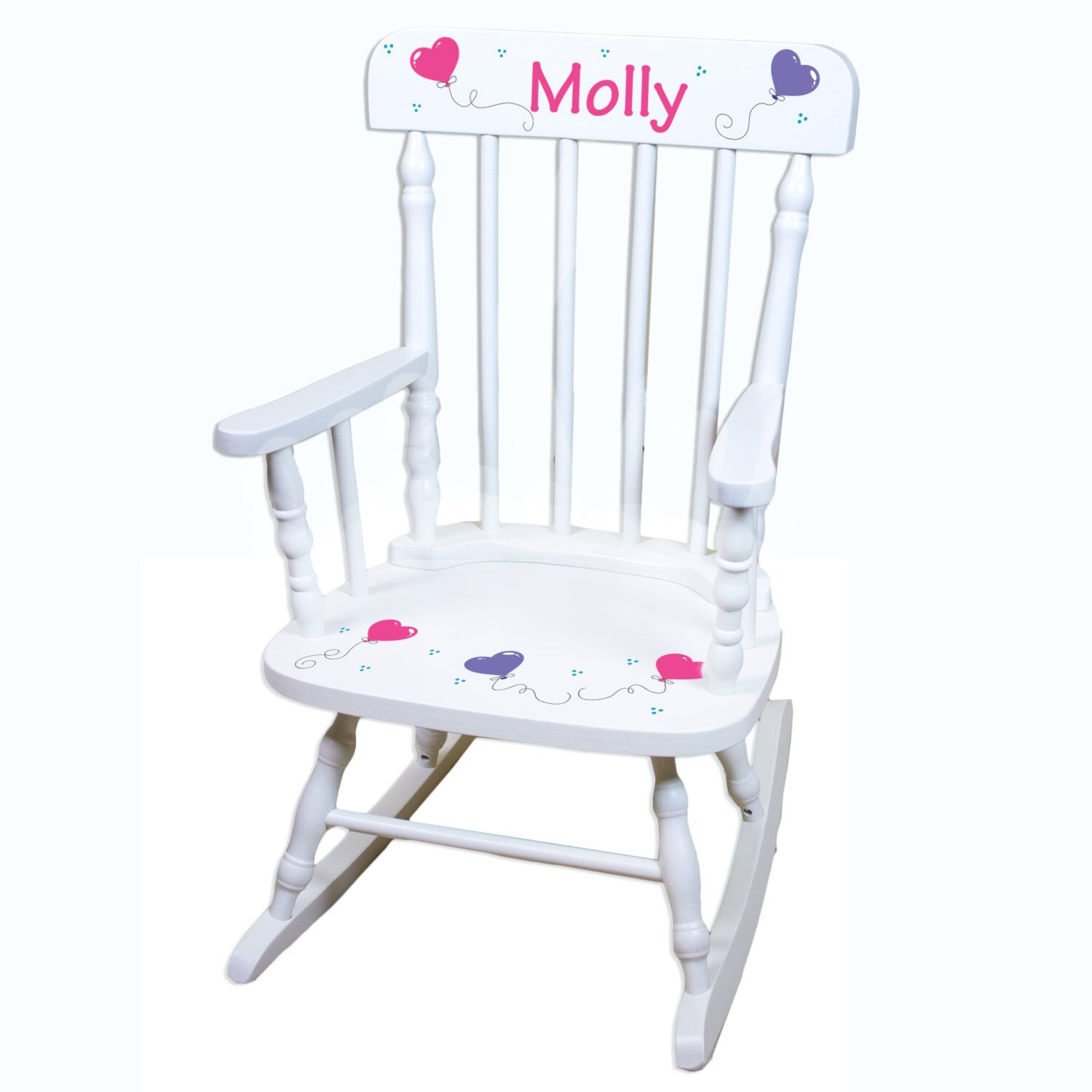 Hand Painted Personalized Childs White Spindle Rocking