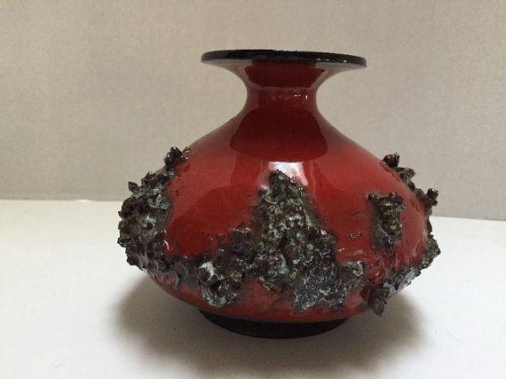 Vintage Mcm Scandinavian Glit Lava Pottery Iceland By