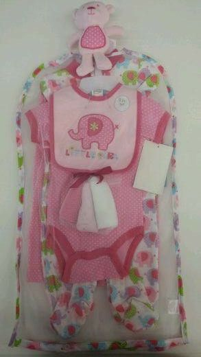 """Cutie Pie 9 piece baby girl's white, pink, purple, blue and green """"Little Girl"""" elephant layette set @ www.Frommaternity2toddler.com"""