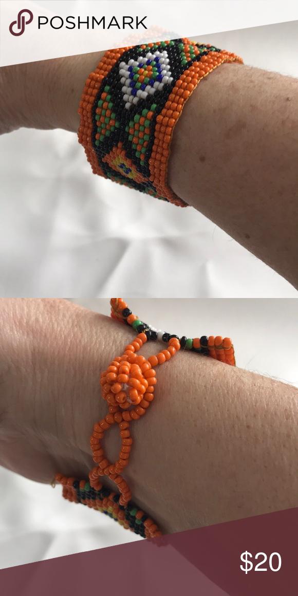 Black Native American beaded bracelet Navajo design