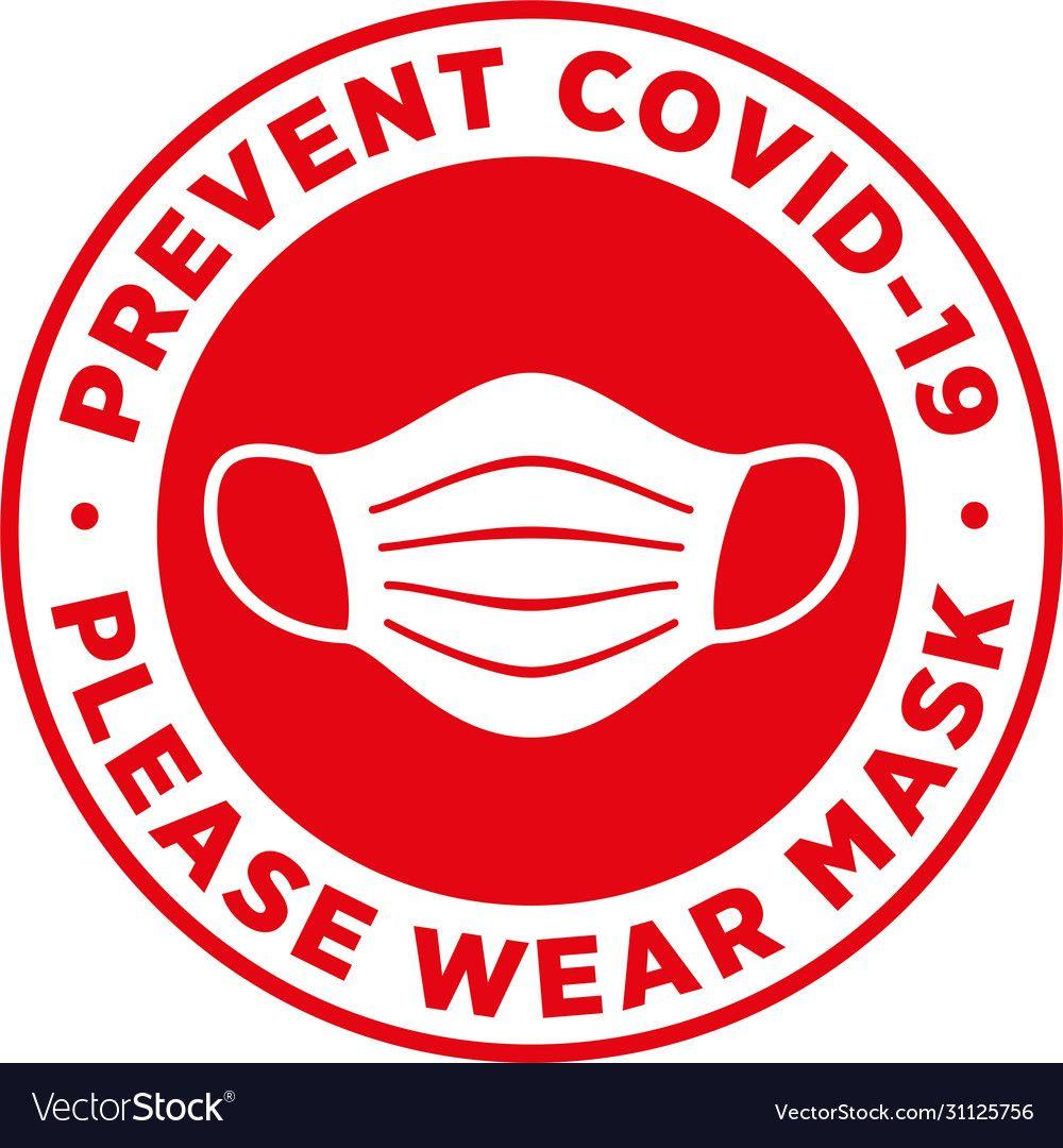 Please wear medical mask signage or floor sticker vector