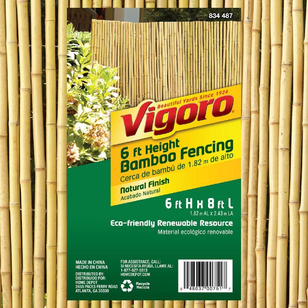 Vigoro 6 ft. H x 8 ft. W Natural Bamboo Fence4477418