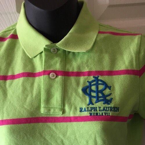 Polo Sport Ralph Lauren Women Pique Collared Short Pink Green Stripe Small NWT #PoloRalphLauren #PoloShirt