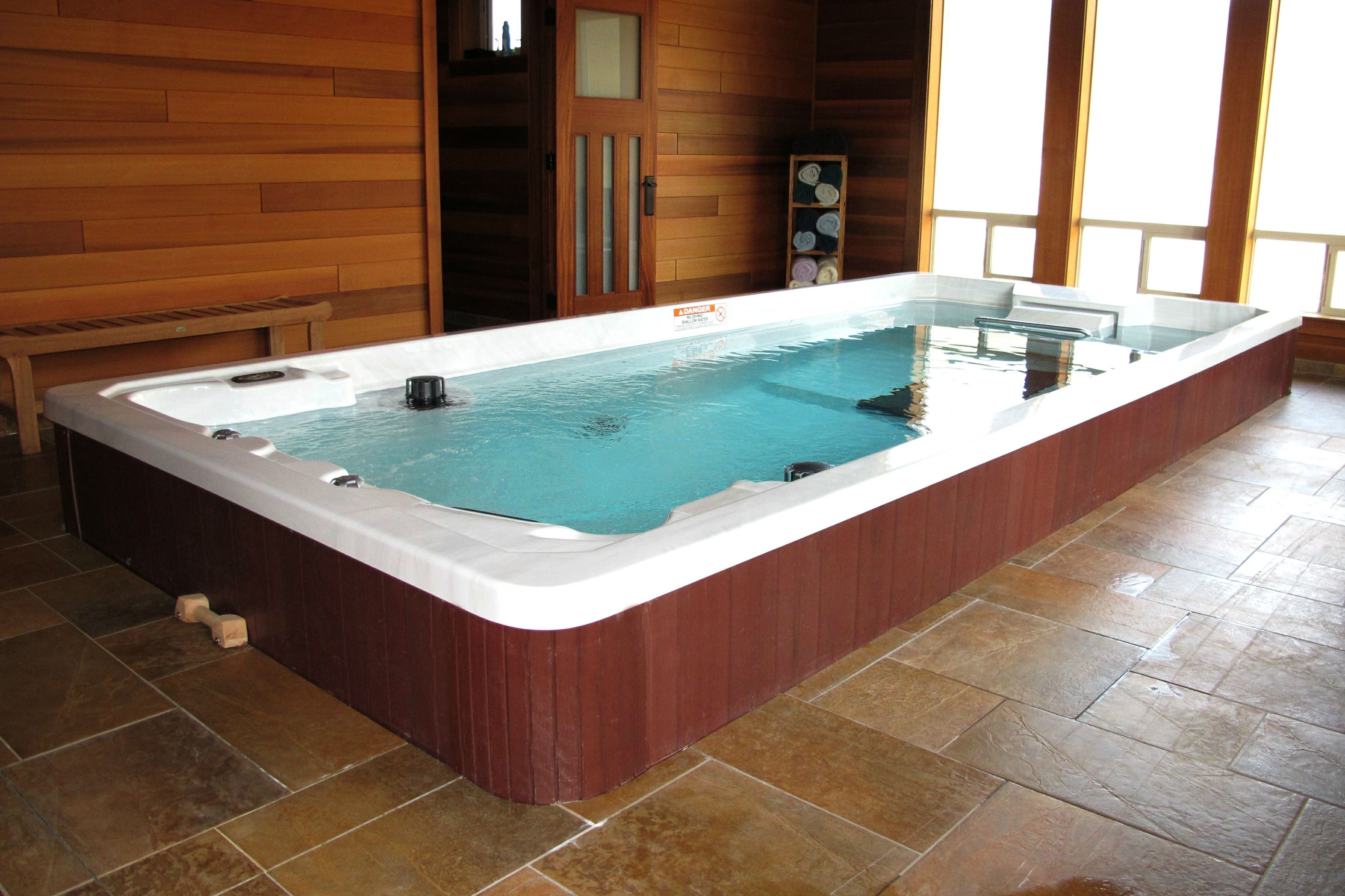 Jacuzzi Endless Pool Indoor Partially Inground 17ft Endless Pool Swim Spa