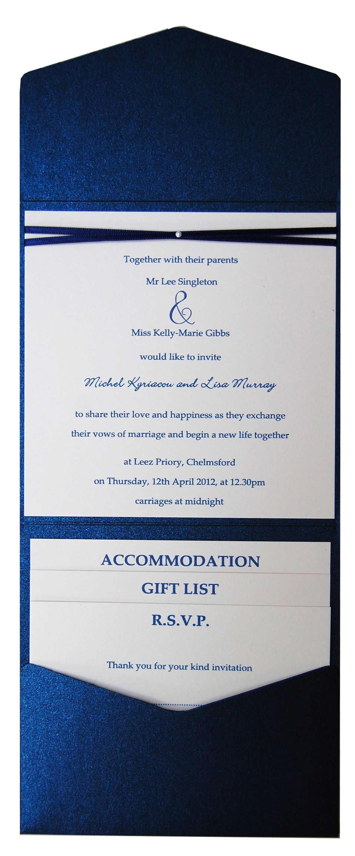 Shire Blue Metallic Pocket Fold Wedding Invitation See