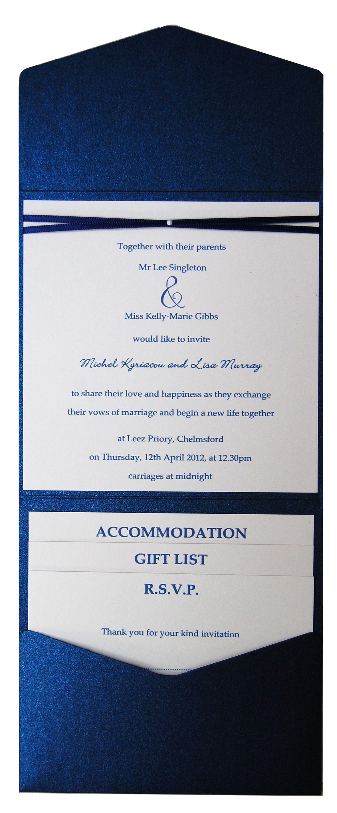 Sapphire blue metallic pocket fold wedding invitation. See the ...