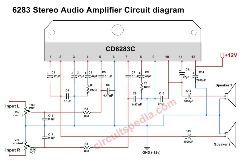 Pin on 6283 IC Audio stereo amplifier circuit diagramPinterest
