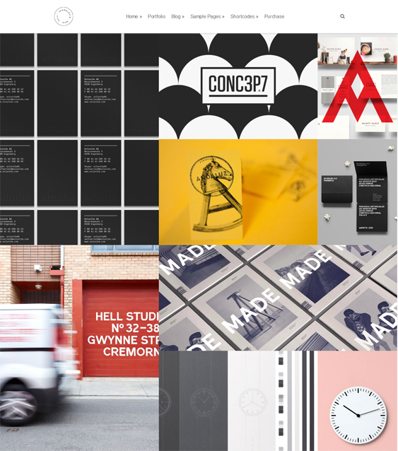 This masonry portfolio WordPress theme has a clean design