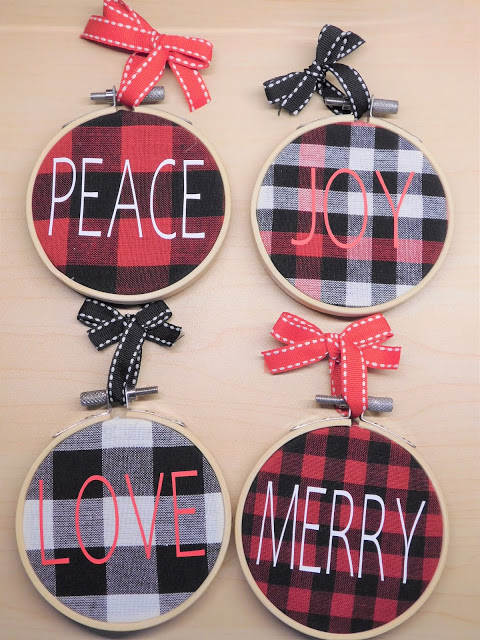 Rae Dunn Inspired Buffalo Check Ornaments In 2020 Christmas On A Budget Dollar Tree Diy Crafts Buffalo Check Fabric