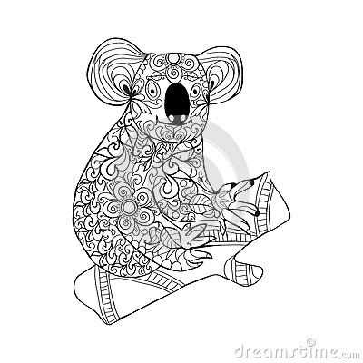 Black White Hand Drawn Doodle Animal For Coloring Page Shirt Design Effect Logo Tattoo And Decoration
