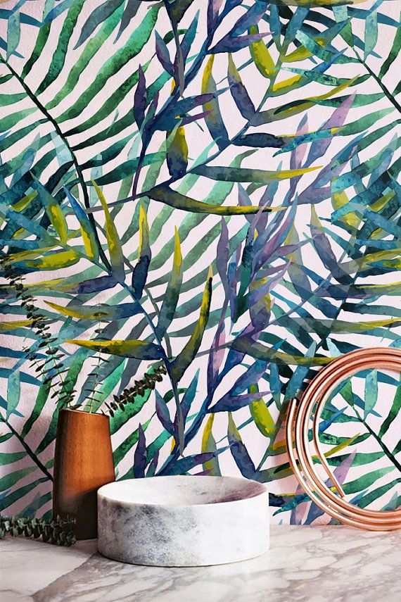 Tropical Watercolor Leaves Pattern, Removable Wallpaper