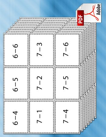 A set of printable subtraction flash cards for kids, with addition ...