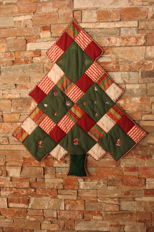 Tissu Noel Patchwork sapin de noel en patchwork de tissu   decoration murale
