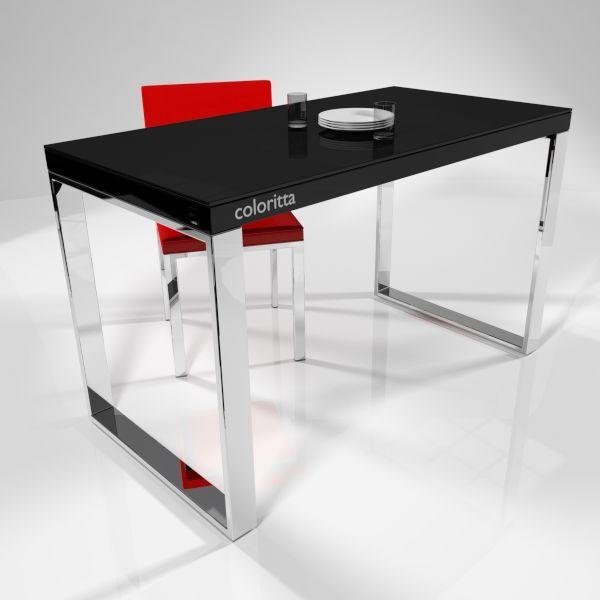 mesa coloritta negro con patas cromadas