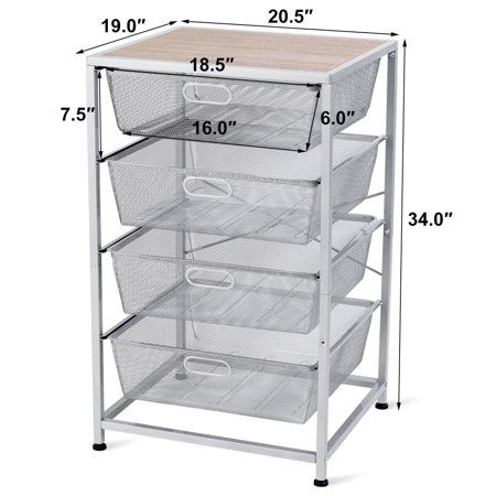 Gymax 4 Drawer Mesh Shelves Basket Multifunction Utility Heavy Duty Storage Organizer Walmart Com In 2020 Basket Shelves Clothes Storage Organizer Storage Organization