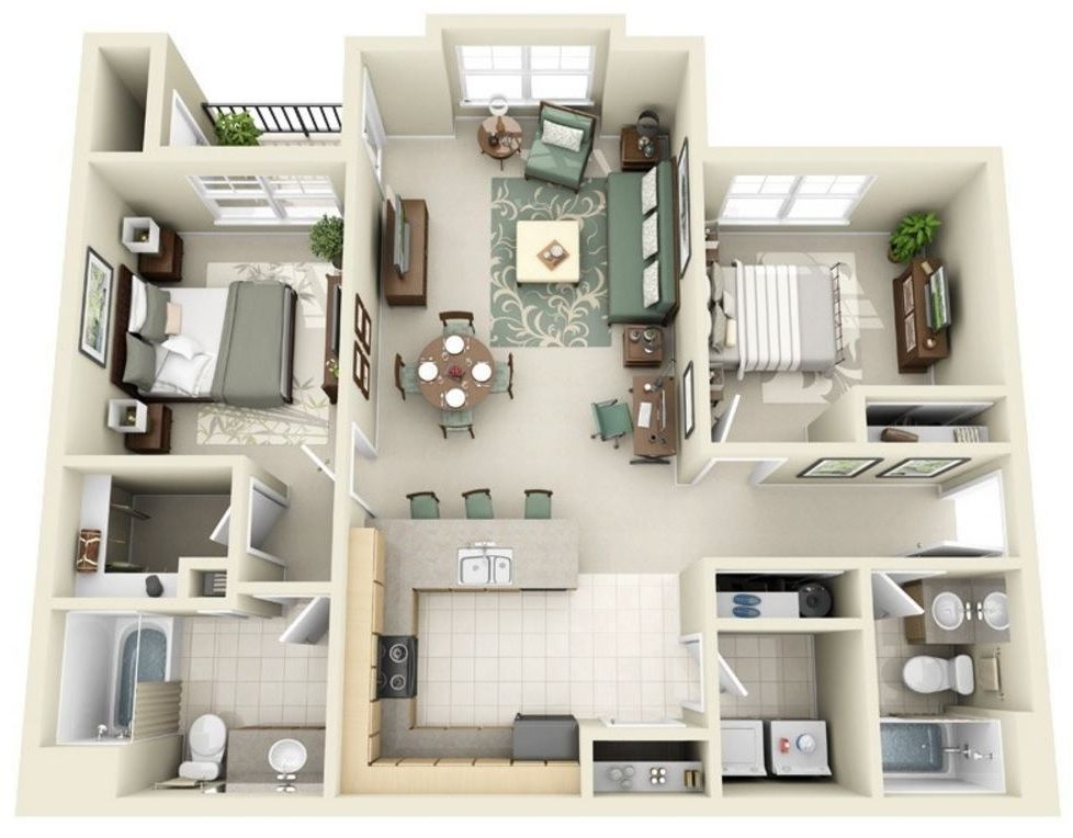 Plano en 3d planos de casas modernas departamento - Decoraciones de casas modernas ...