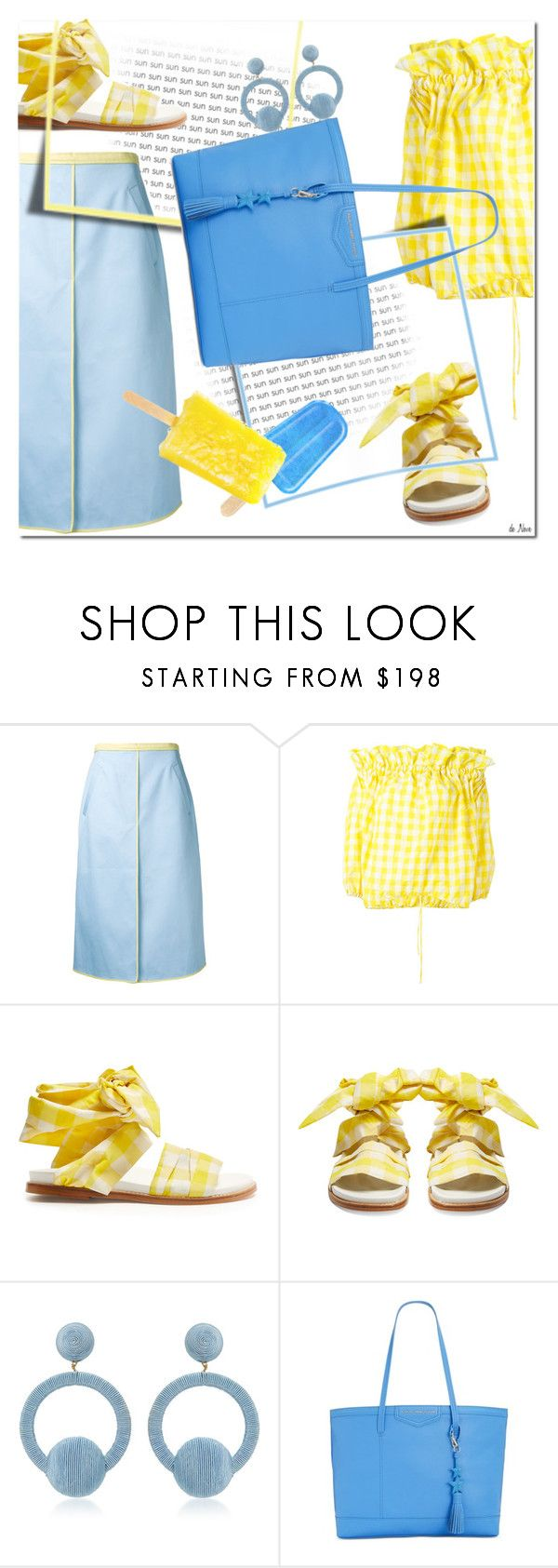 """YELLOW GINGHAM"" by deneve ❤ liked on Polyvore featuring Thom Browne, Marques'Almeida, Rebecca de Ravenel, Tommy Hilfiger, summerstyle, gingham and offshoulder"
