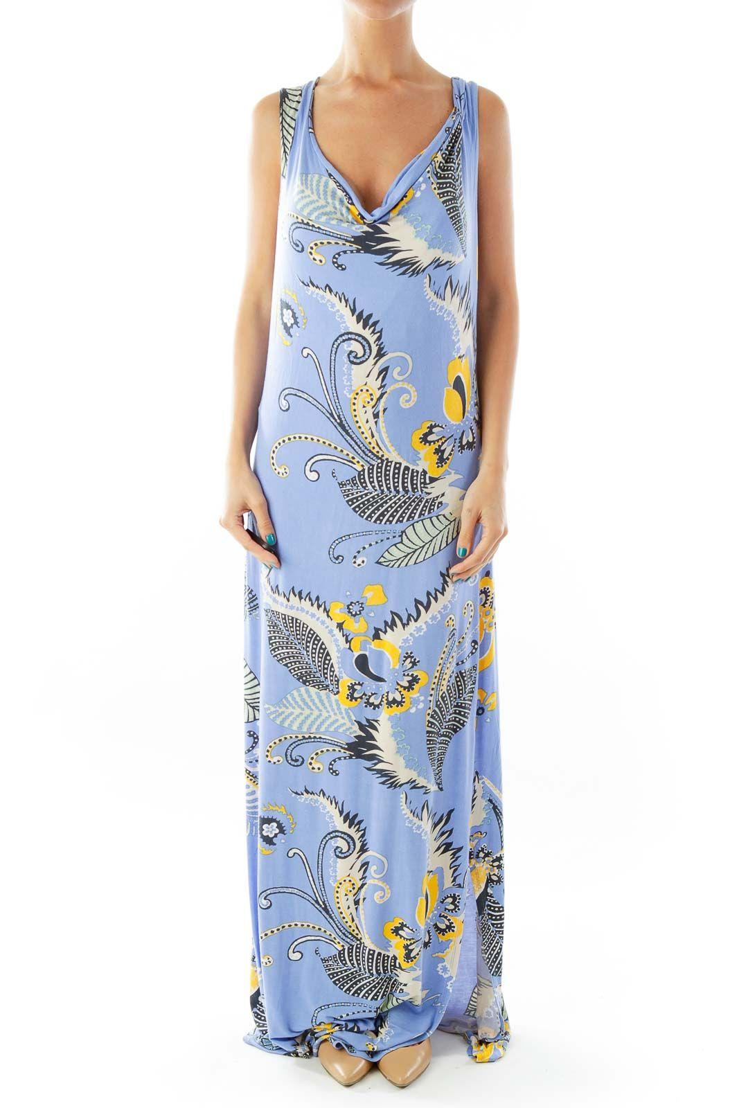 Tahari Blue Floral Maxi Dress Modal Rayon Elastane Silkroll In 2021 Blue Floral Maxi Dress Maxi Dress Floral Maxi Dress [ 1600 x 1067 Pixel ]