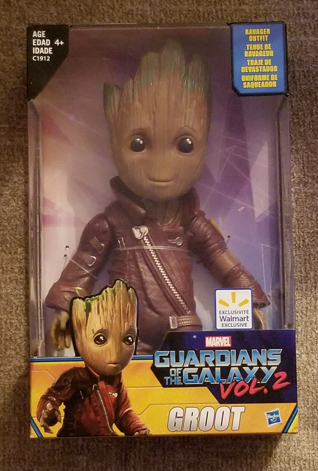 "HASBRO GUARDIANS OF THE GALAXY 2 Groot Figure Ravager Outfit 10/"" Walmart"