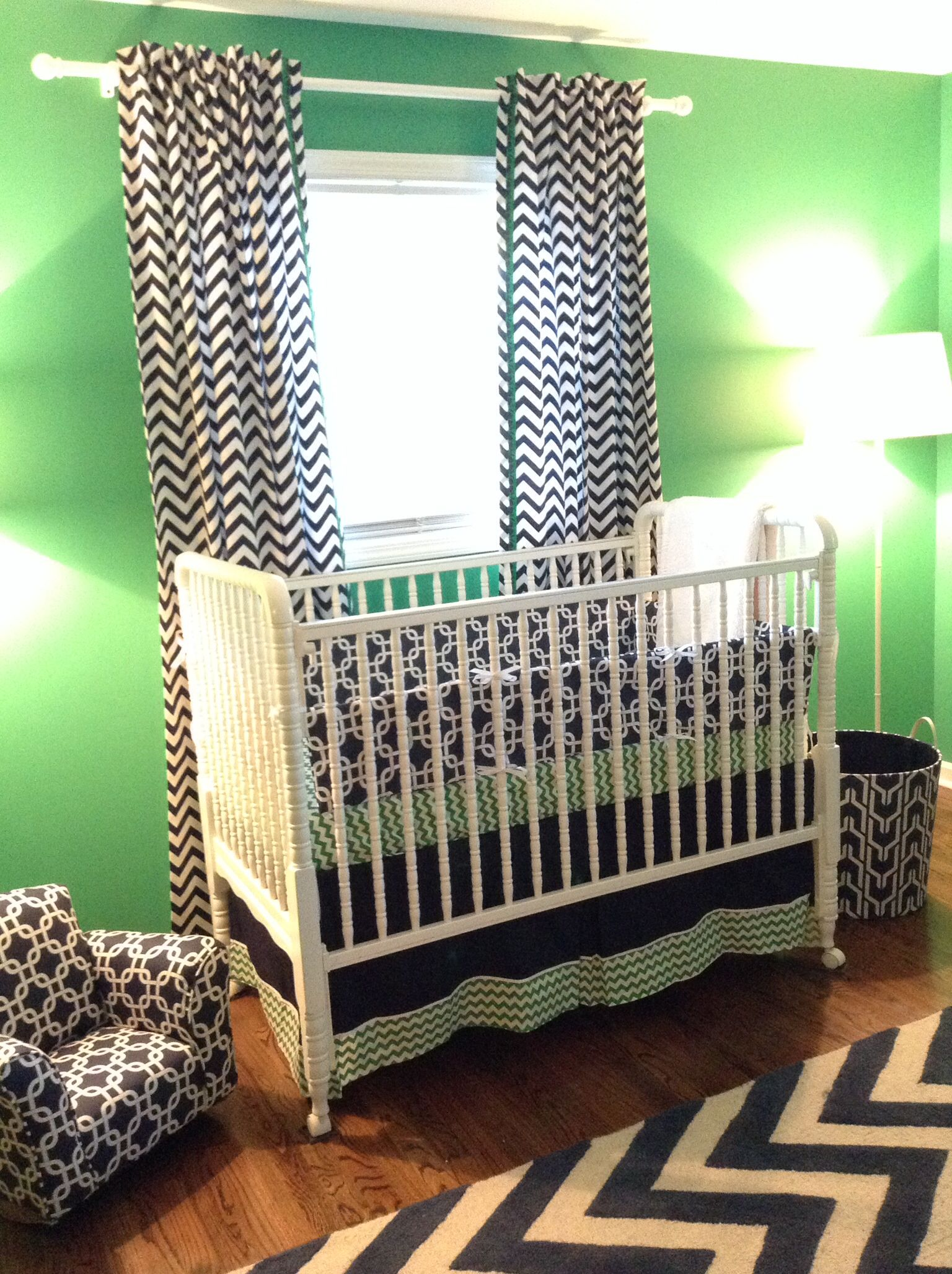 Whale of a Tale Nursery. Navy and Kelly green crib, small