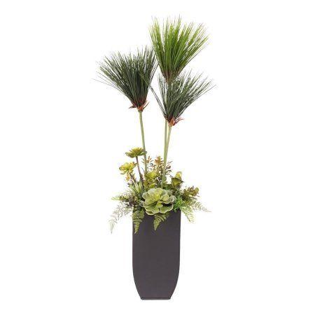 Small Umbrella Plant with Succulents in a Tall Metal Planter - Walmart.com