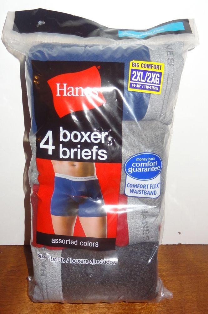 "New 4 Pair Hanes Boxer Briefs Size 2XL 44-46"" 110-115 cm Blue Gray Red Black #Hanes #Boxer"