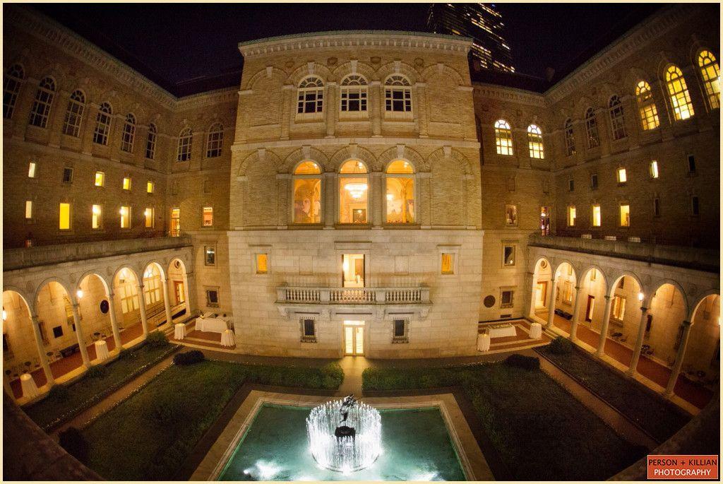 Unique Wedding Venues Boston Public Librarys Courtyard Lit At Night Person Killian Photography