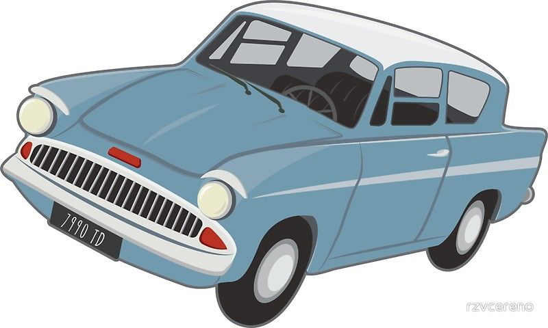 Weasley Car Flying Ford Anglia Sticker By Rzvcereno In 2020 Harry Potter Flying Car Harry Potter Car Harry Potter Quilt