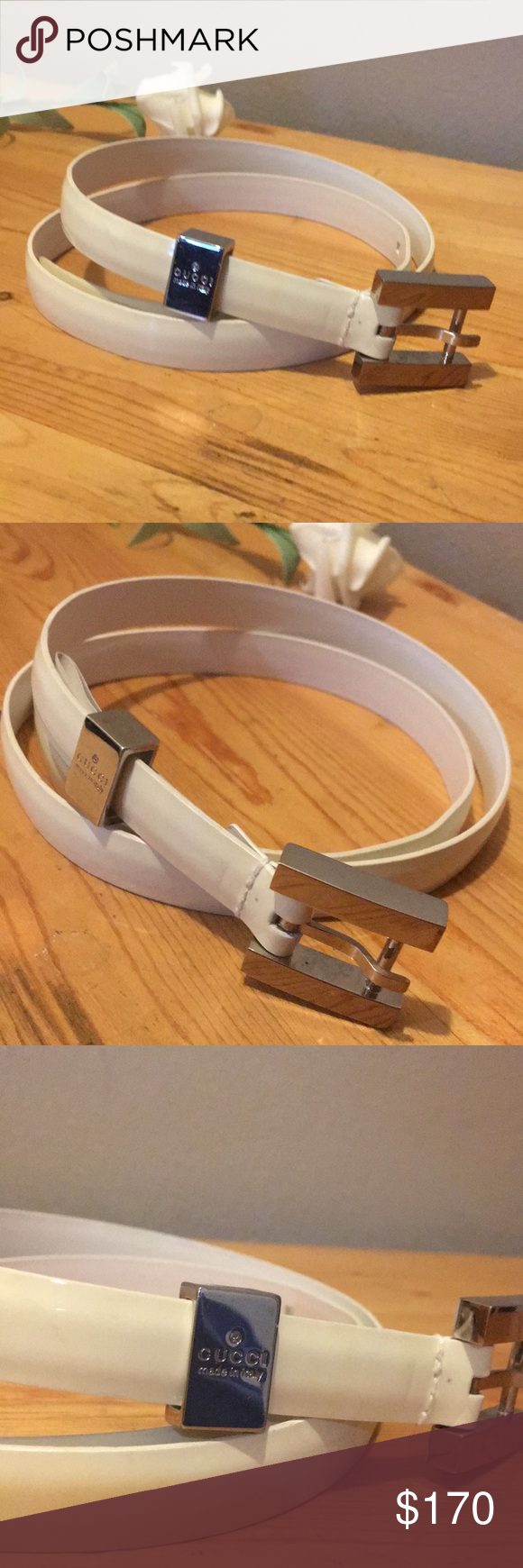 d497eca1c06 GUCCI Skinny Leather Belt Size S Preowned Size S Skinny Patent Leather Off-white Creme  Belt. Signature silver tone hardware. Minimal signs of wear and ...