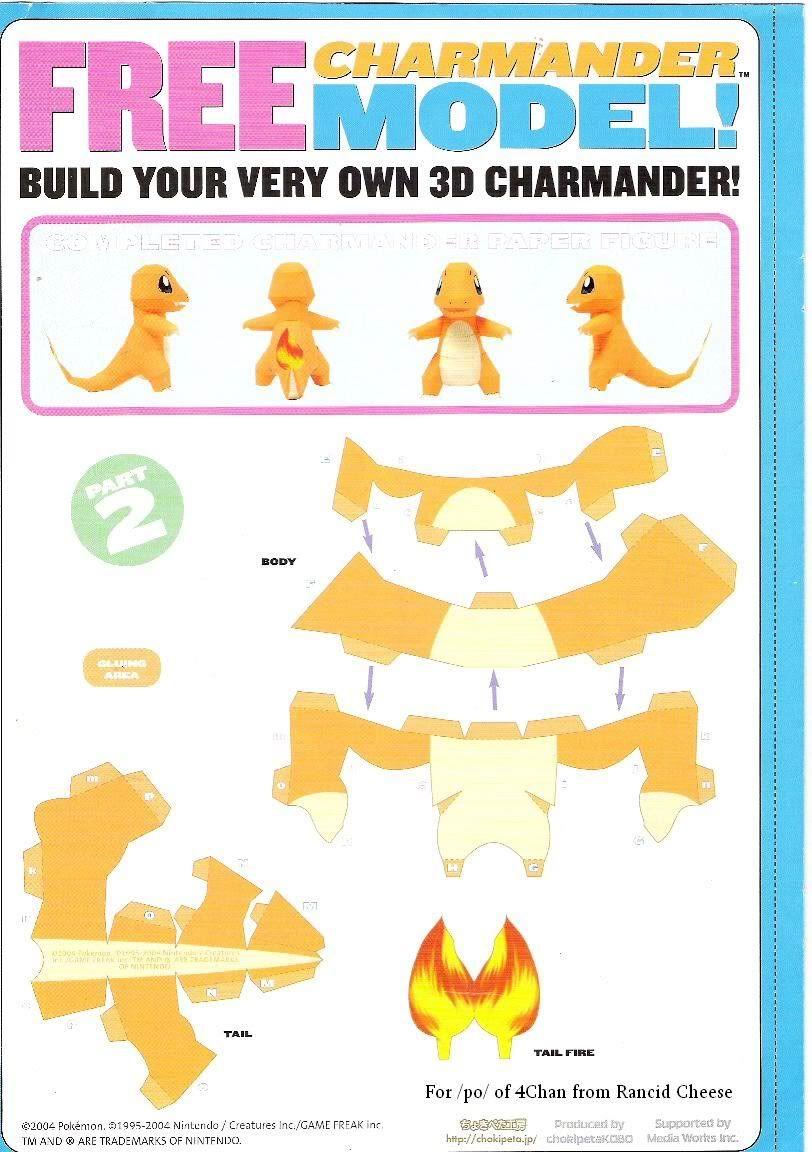 Pokemon papercraft templates charmander for Net making instructions