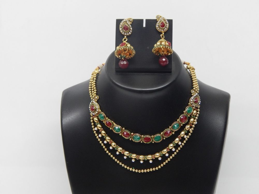 Indian Bollywood Polki Women Wear Ethnic Designer Dangle Nacklace Earrings Set #VGjewel