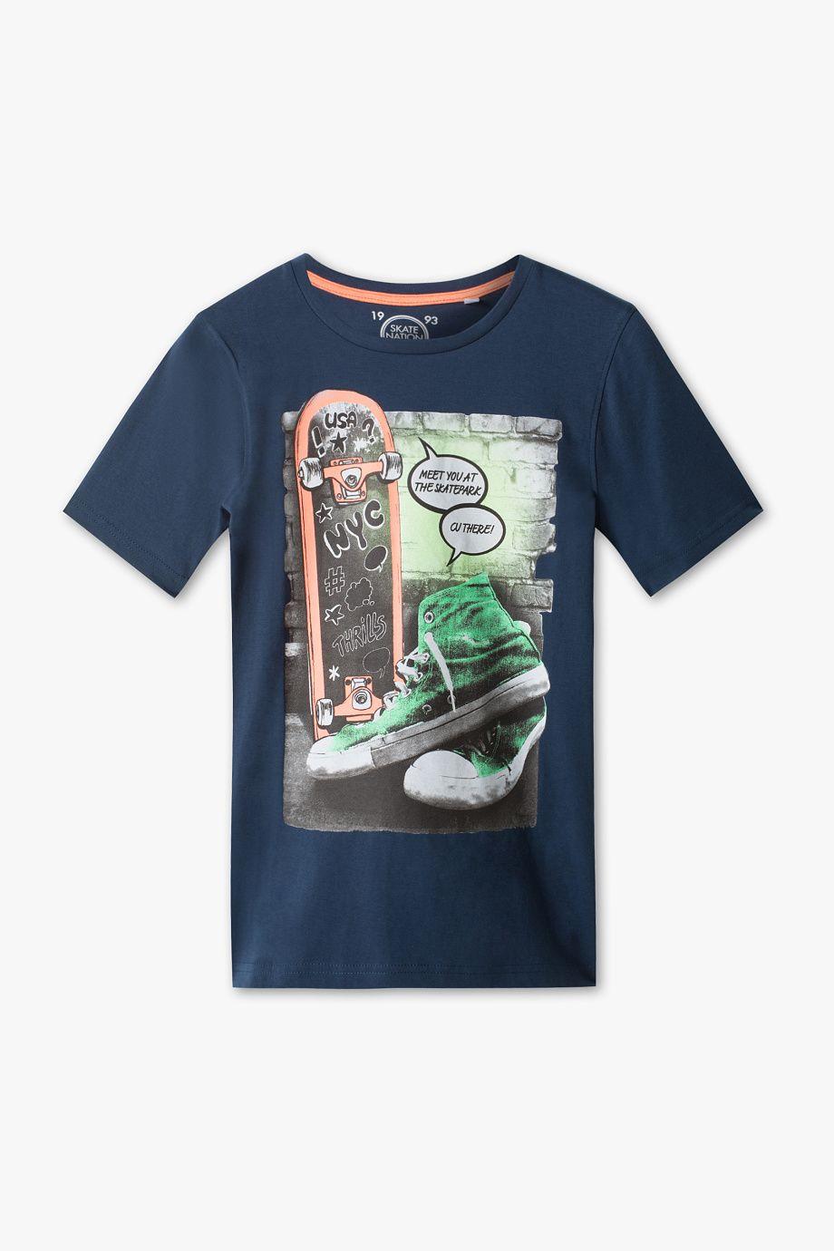 27d4e9048b Niños - Camiseta de manga corta - Algodón orgánico - azul oscuro