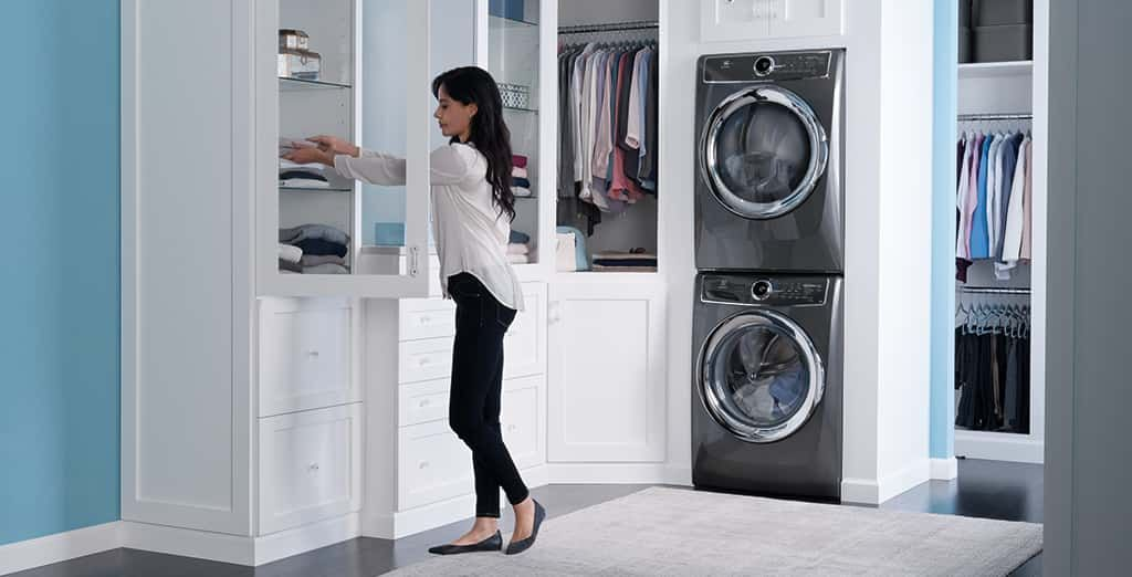 Quietest Washers And Dryers Second Floor Guarantee From Electrolux Small Laundry Rooms Narrow Laundry Room Laundry Room Diy