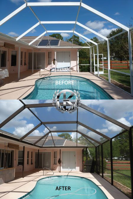The Kc Group Screening And Maintenance Tops On Maintaining Your Pool Cage And Screens Indoor Pool Design Pool Cage Pool Screen Enclosure