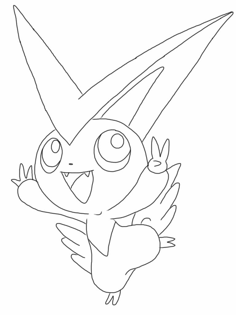 Free Victini Pokemon Coloring Page Visit The Website For A Larger