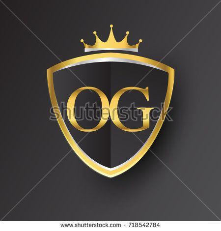 Initial Logo Letter Og With Shield And Crown Icon Golden Color