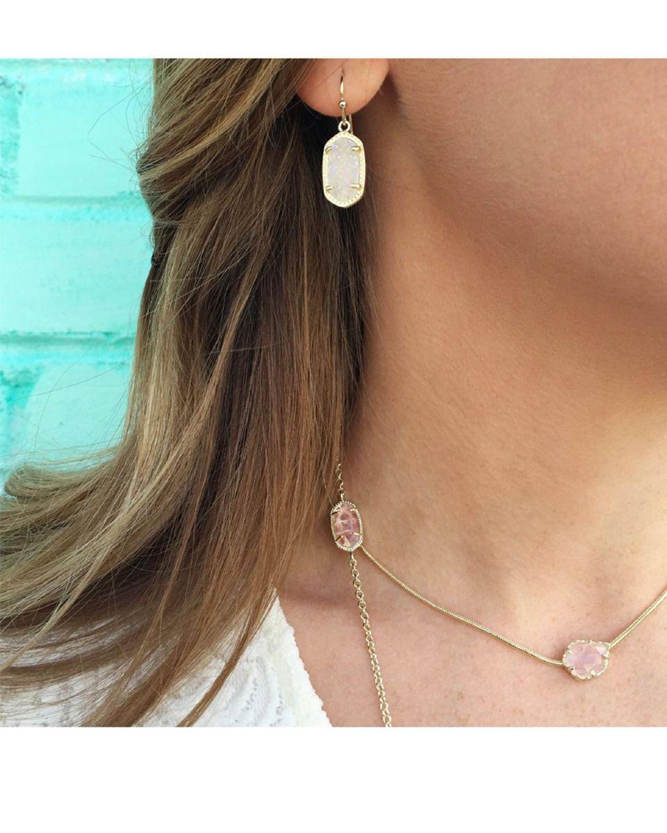 e0ac51791 Kendra Scott Dainty Lee Earrings in Rose Drusy & Rose Gold Plated | eBay