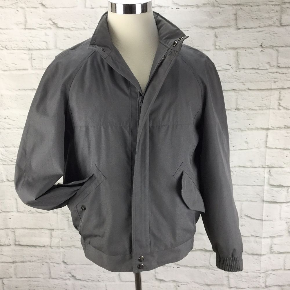 19e61df4c Vintage London Fog Mens Bomber Jacket 40R M Gray Zip out lining ...