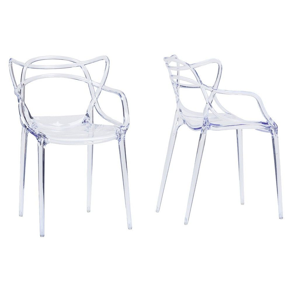 Electron Plastic Contemporary Dining Chair - Clear (Set Of 2) - Baxton Studio
